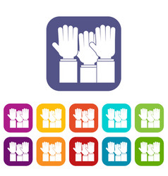 Different people hands raised up icons set flat vector
