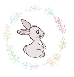 Doodle rabbit small postcard vector
