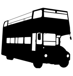 double decker open air bus silhouette vector image