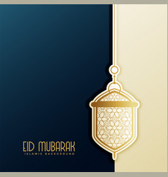 Eid festival greeting with hanging lantern vector