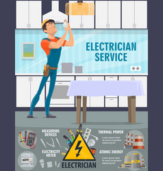 Electricity electrician service and tools vector