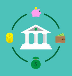 Financial institution and money saving vector