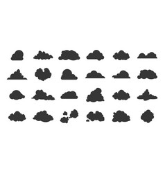 flat clouds icon black nature shadow silhouettes vector image