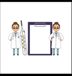 flat female doctor surgeon characters set vector image