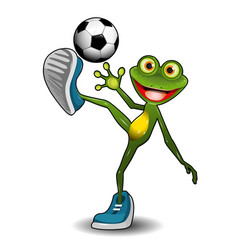 frog with a soccer ball vector image vector image