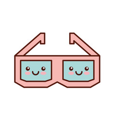 Glasses 3d kawaii character vector