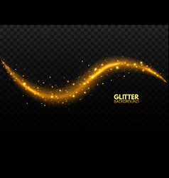 glittering gold wave sparkling comet tail on vector image