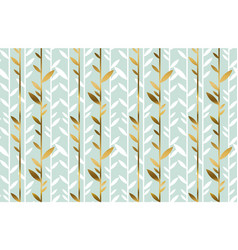 Gold and pale green leaf seamless pattern vector