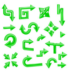 green 3d arrows set of different shiny web signs vector image