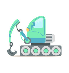 green excavator truck construction machinery vector image