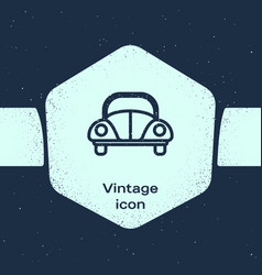 Grunge line car volkswagen beetle icon isolated on vector