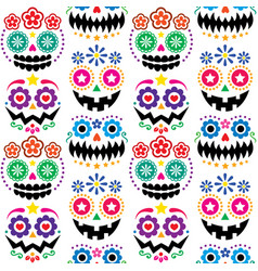halloween and dia de los muertos skulls patterns vector image