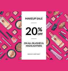 hand drawn makeup products sale background vector image