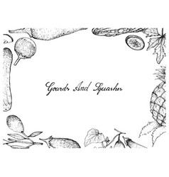 hand drawn of gourd and squash fruits frame vector image
