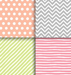 Hand drawn painted geometric seamless patterns set vector