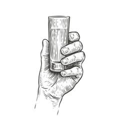 Hand holding a shot alcohol drink vintage vector