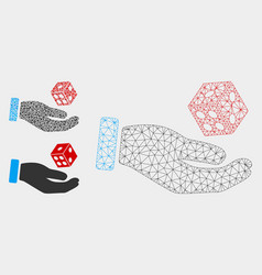Hand play dice mesh carcass model and vector