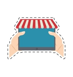 Hands holding tablet shopping online cut line vector