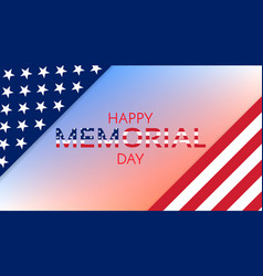 happy memorial day background usa flag banner vector image