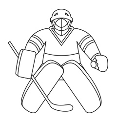 Hockey goalkeeper icon outline style vector image