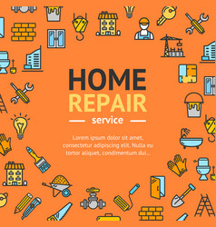 Home repair round design template line icon vector