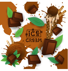 ice cream with chocolate taste dessert colorful vector image