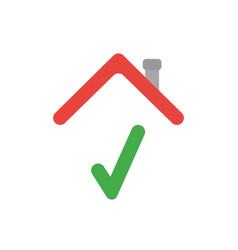 icon concept of check mark under house roof vector image