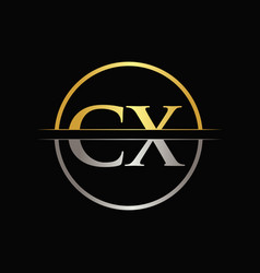 initial gold and silver color cx letter logo vector image