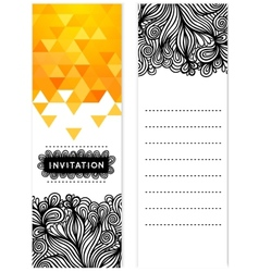 Invitation with doodles triangles vector