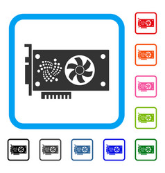 Iota video gpu card framed icon vector