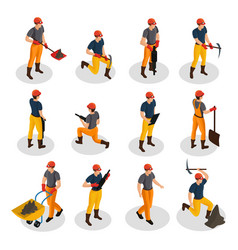 Isometric mining characters set vector