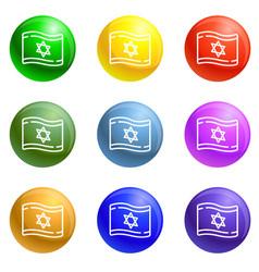 israel flag icons set vector image