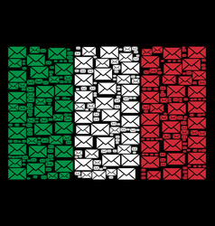 italian flag collage of mail envelope icons vector image
