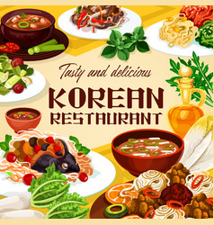Korean restaurant food soups salads meat dishes vector