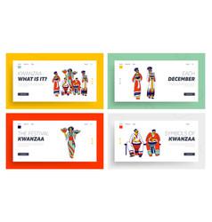 Kwanzaa celebration landing page template set vector