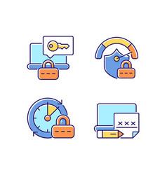 Laptop passwords rgb color icons set vector