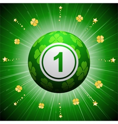 Lucky four leaf clover bingo ball vector