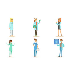 male and female doctors set professional hospital vector image