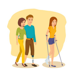 Man next to girlfriend girl goes on crutches vector