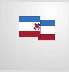 Mari-el waving flag design background vector
