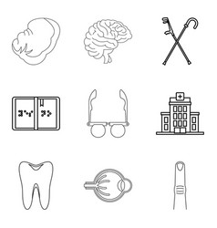 Medical therapeutic icons set outline style vector