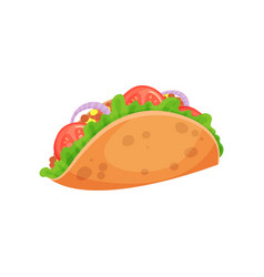 Mexican taco with meat and fresh vegetables vector