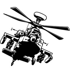 Military helicopter detailed silhouette isolated vector