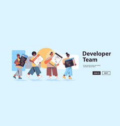 mix race web developers creating program code vector image