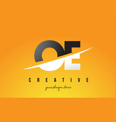 oe o e letter modern logo design with yellow vector image