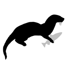 Otter with fish vector image