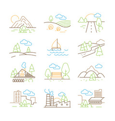 outline landscapes thin line trees building vector image