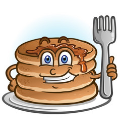 pancakes cartoon character holding a fork vector image