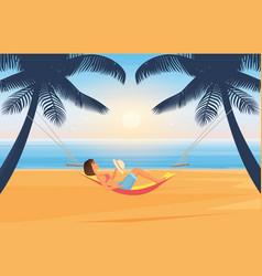 people relax and sunbathe on summer sea beach vector image