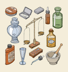 pharmacy bottles vintage medical glass old vector image